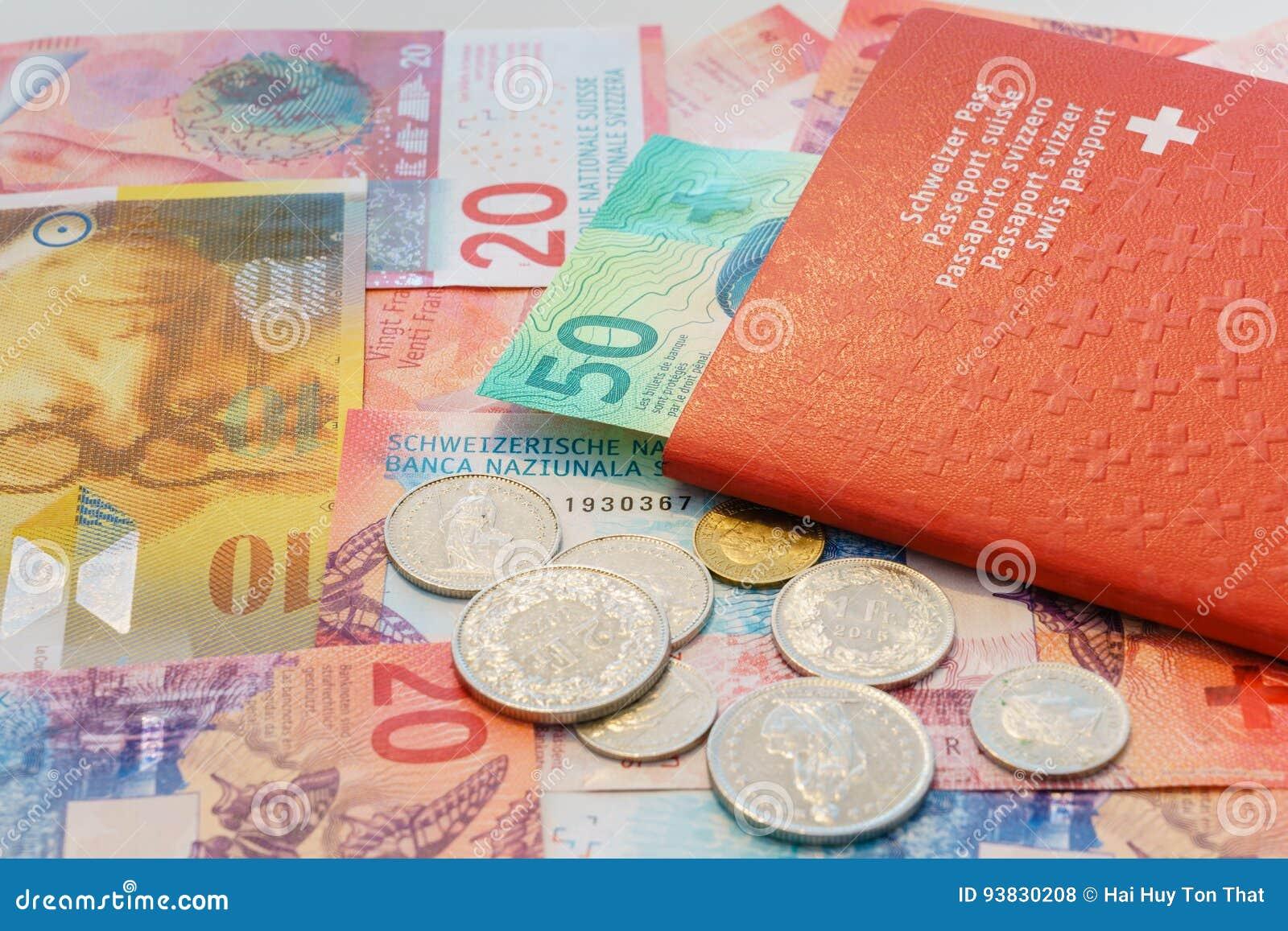 Zwitsers paspoort en Zwitserse Franken met Nieuwe 20 en 50 Zwitserse Frankrekeningen