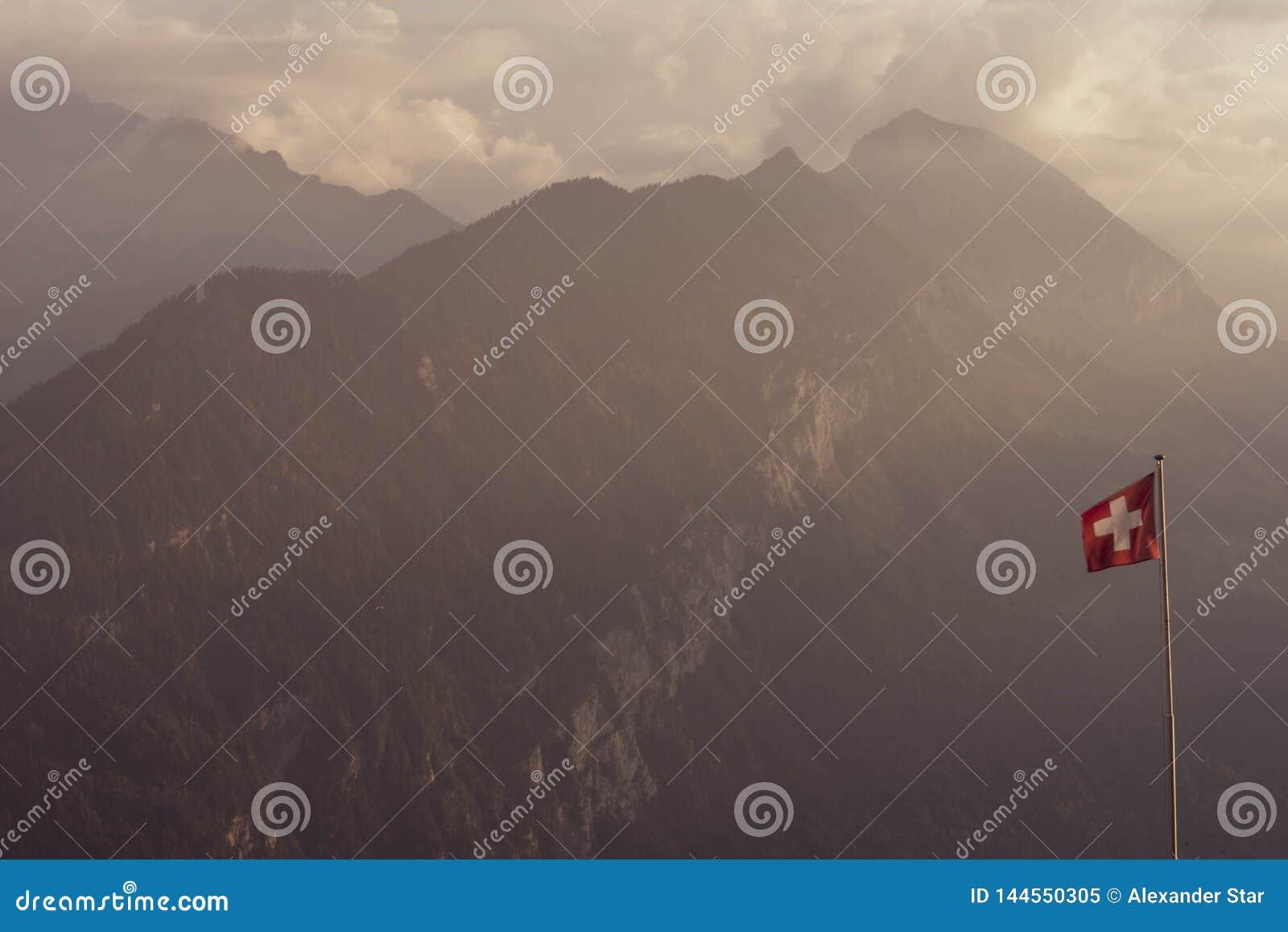 Zwitserse de vlag en de bergachtergrond van Alpen