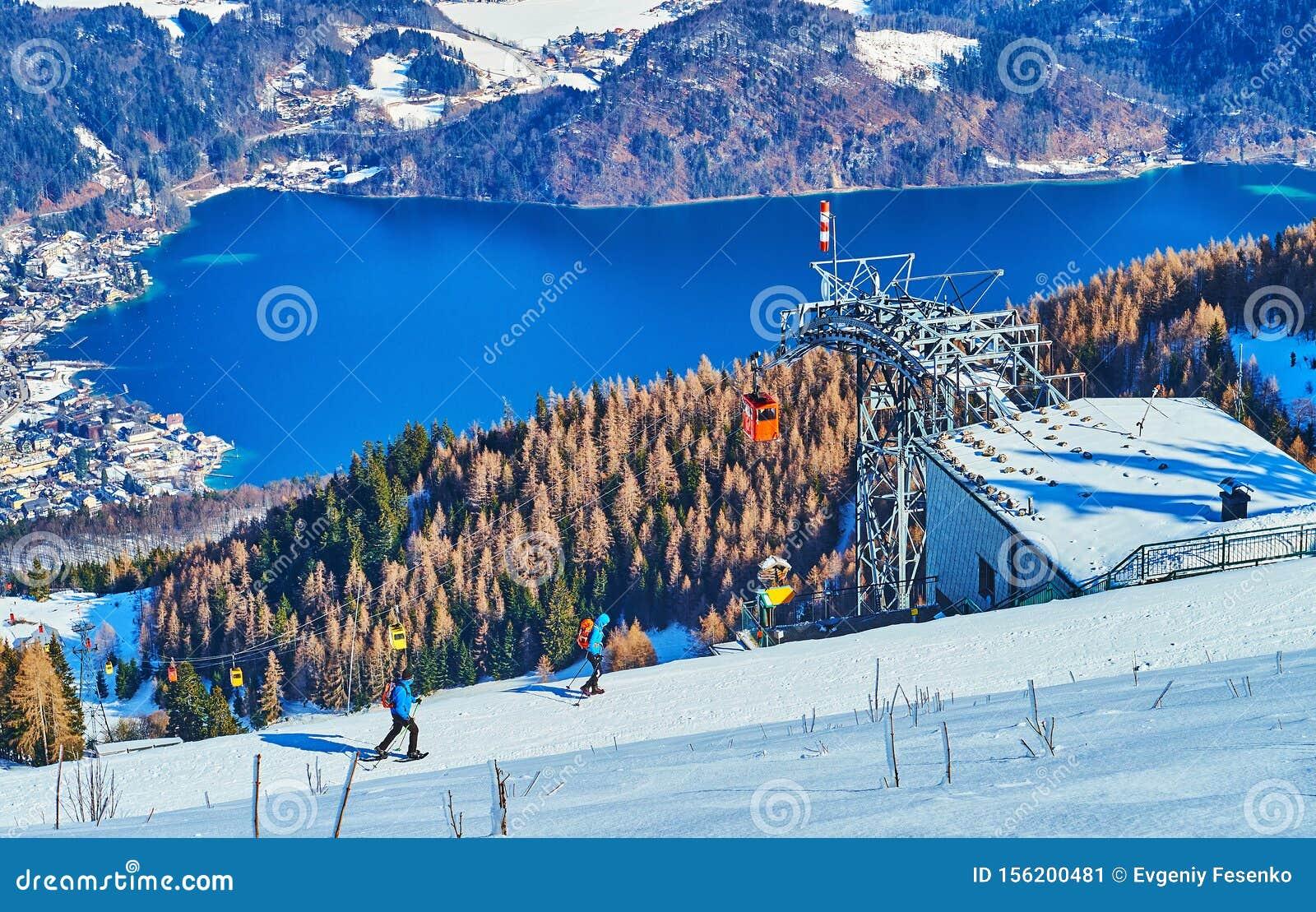 Zwolferhorn cableway above Wolfgangsee lake, St Gilgen, Salzkammergut, Austria
