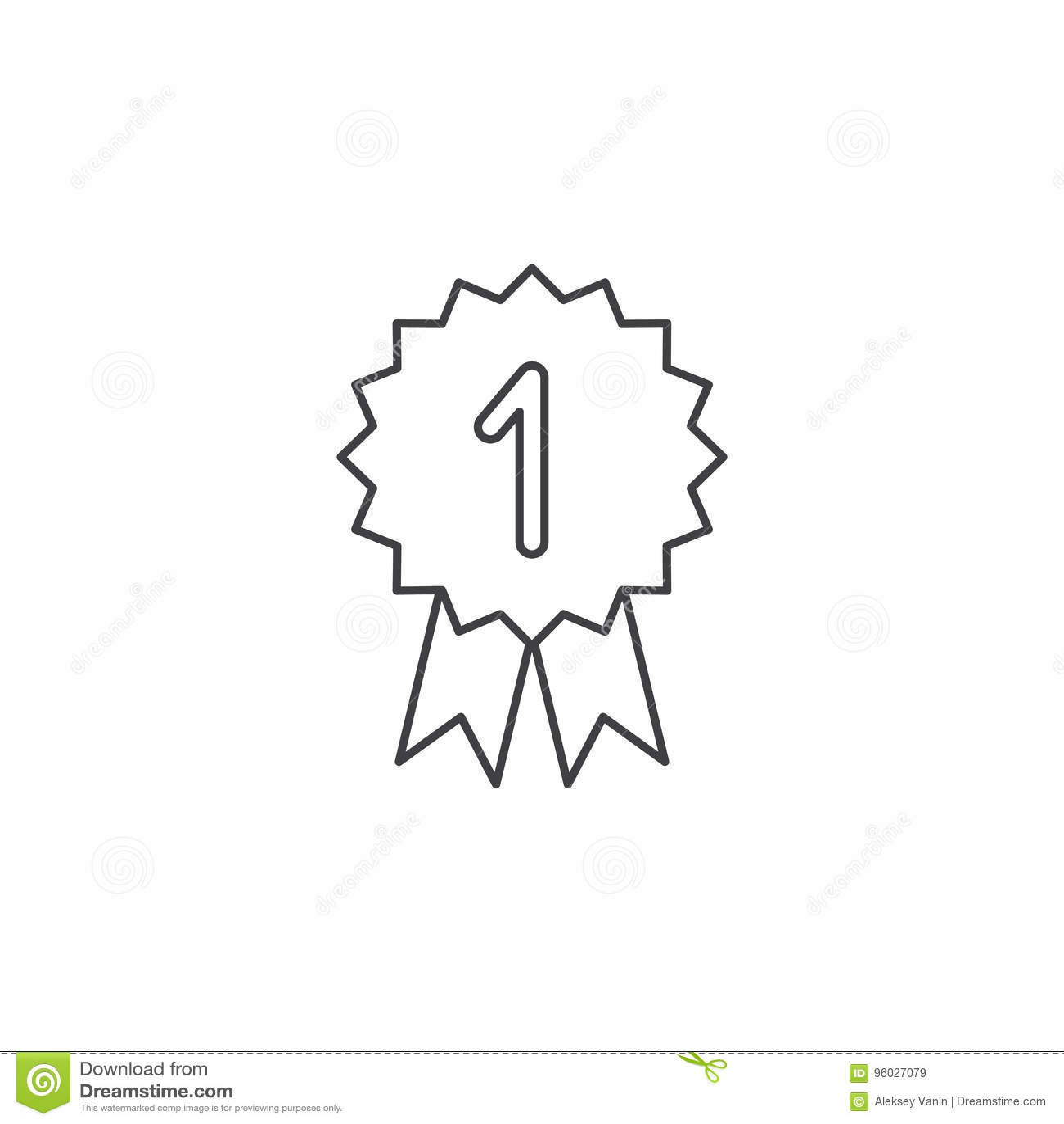 Zwycięzca cienka kreskowa ikona, medalu konturu loga wektorowa ilustracja, l
