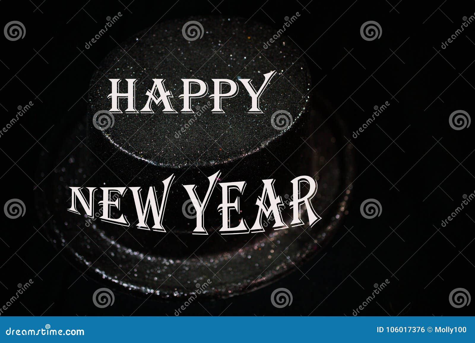 Zylinder auf schwarzem Hintergrund, neues Jahr ` s Eve
