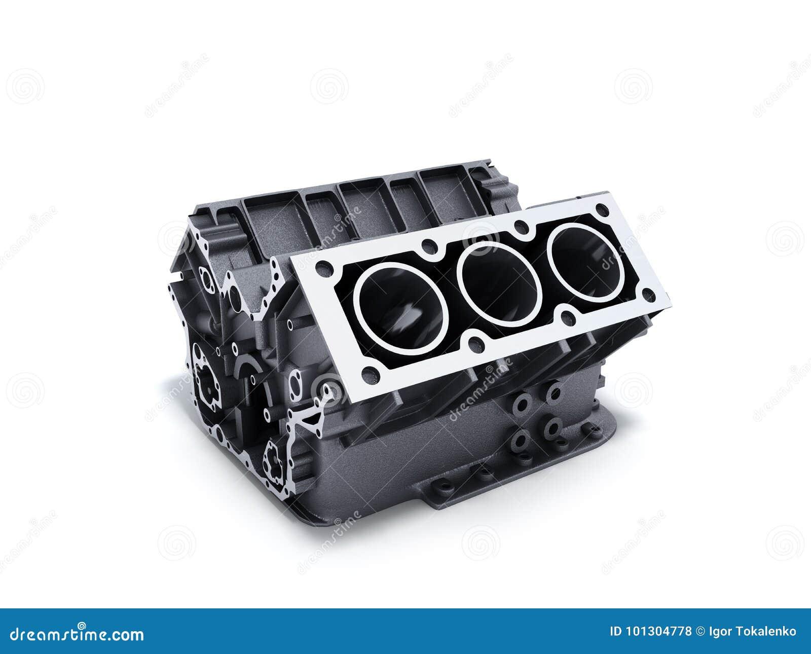 Zylinderblock Vom Auto Mit V6 Maschine 3d übertragen Auf Einer ...