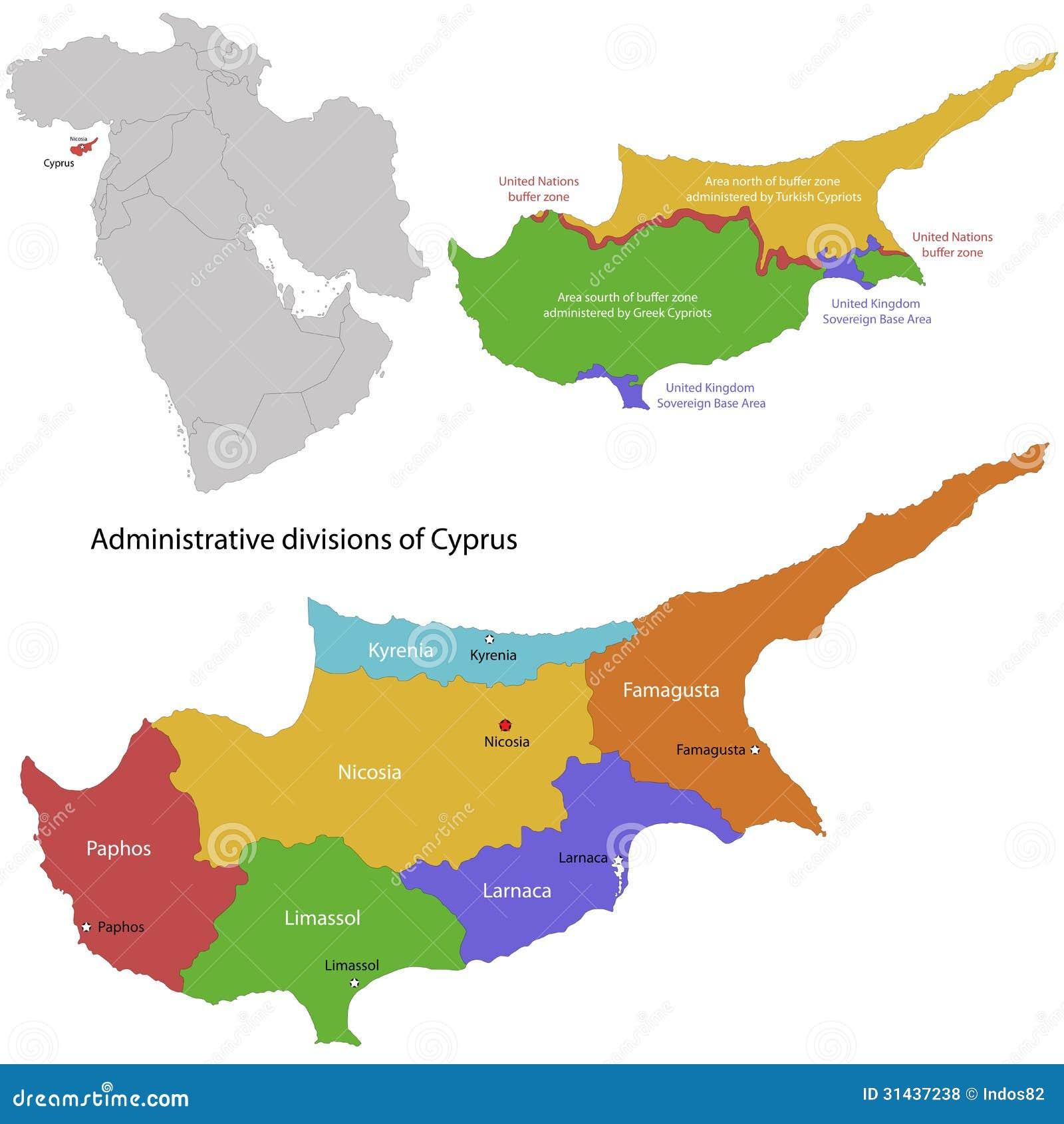 Zypern Karte Vektor Abbildung Illustration Von Geographie 31437238