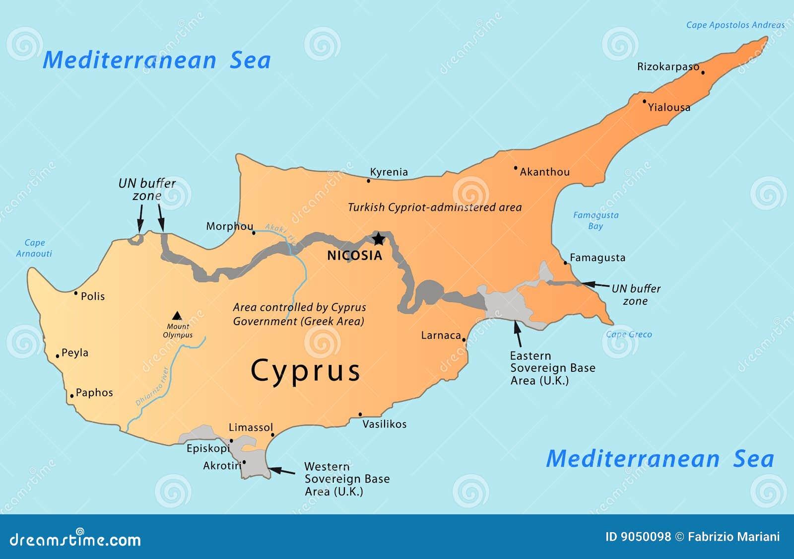 Zypern Karte Vektor Abbildung Illustration Von Griechenland 9050098