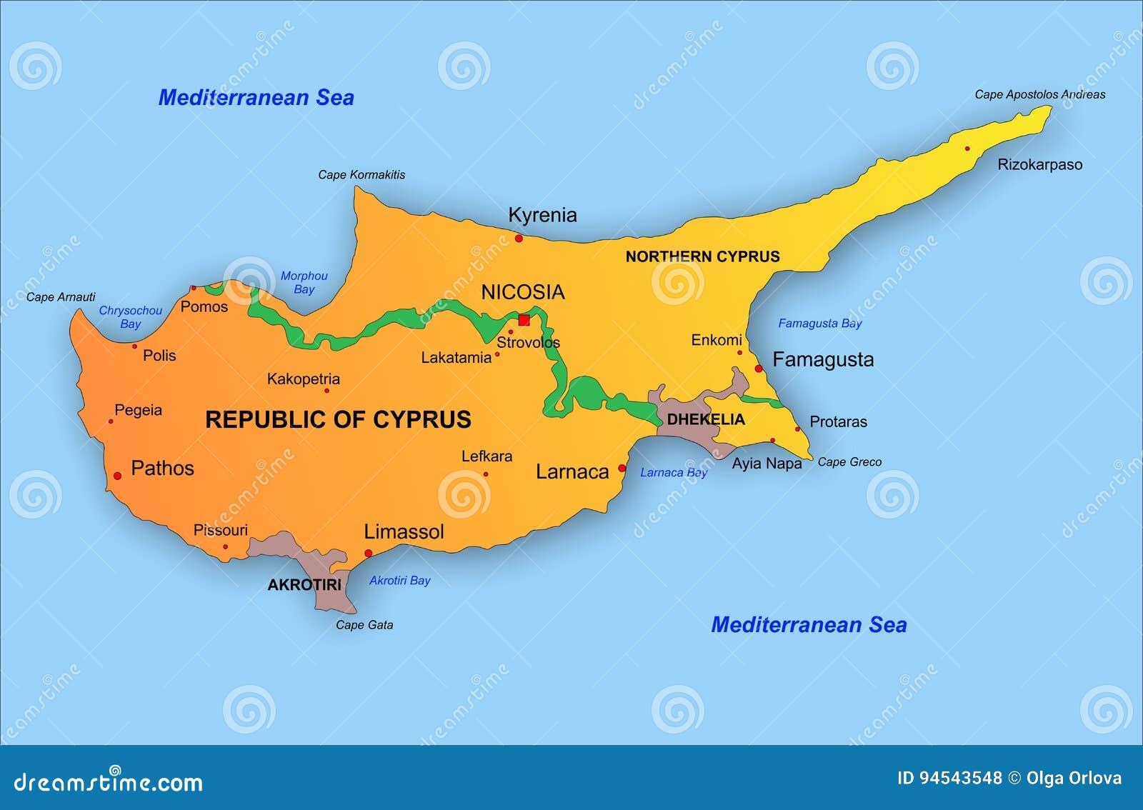 Zypern Karte Vektor Abbildung Illustration Von Griechisch 94543548