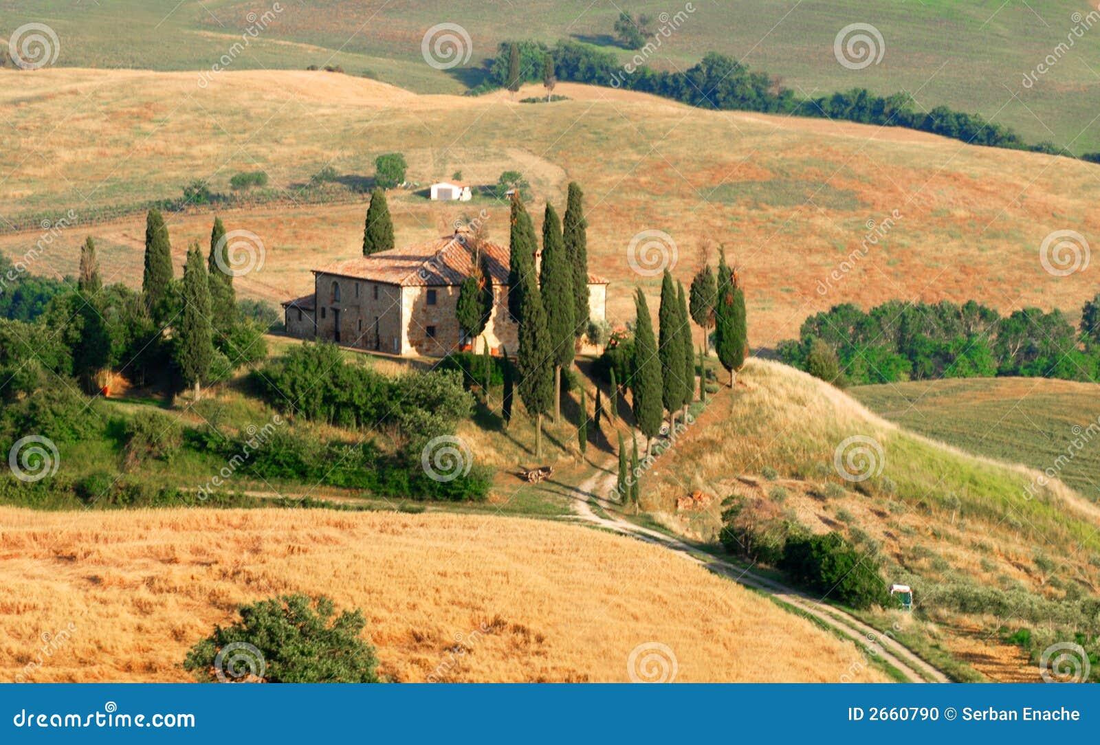 Zypresse-Hügel in Toskana