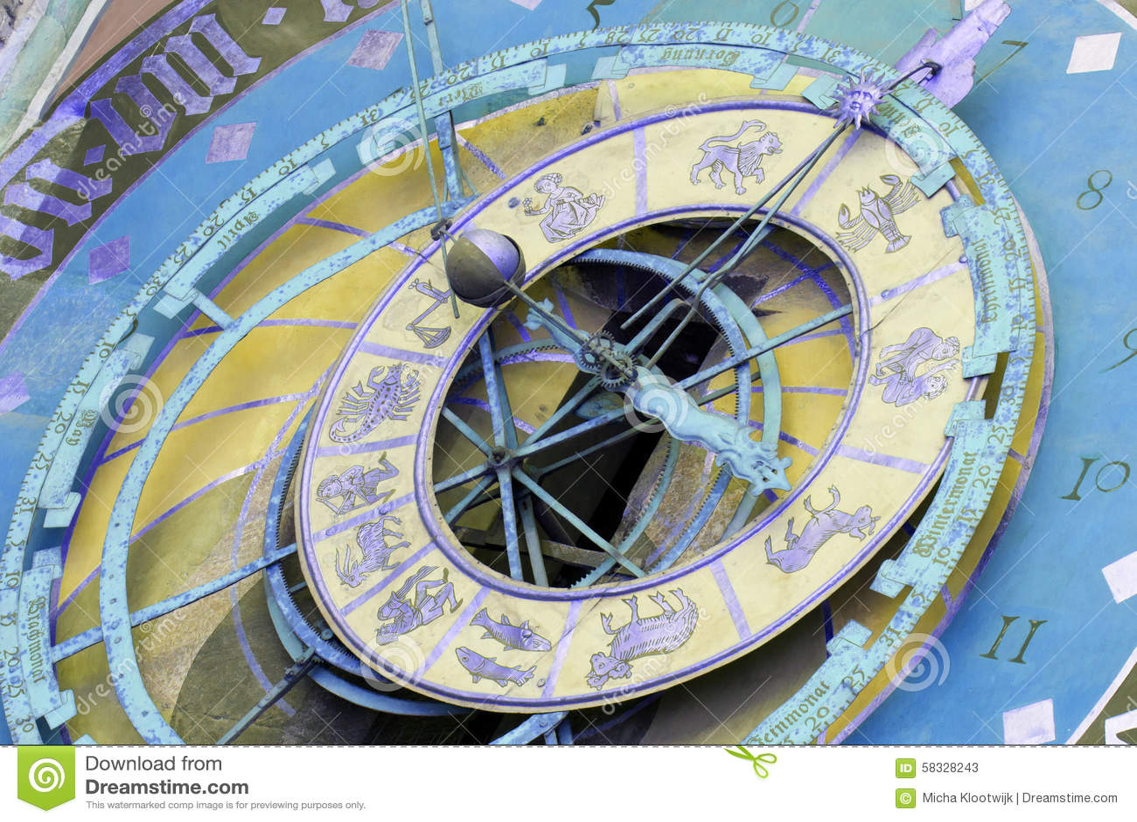 Zytglogge黄道带时钟在伯尔尼,瑞士